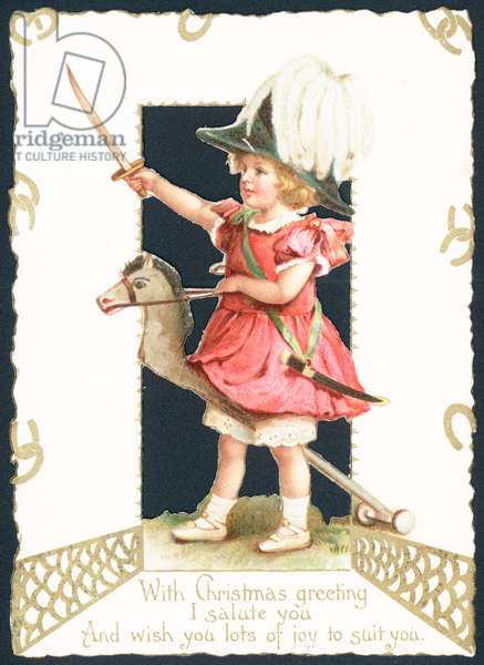 Girl riding on hobby horse, Christmas Card (chromolitho)