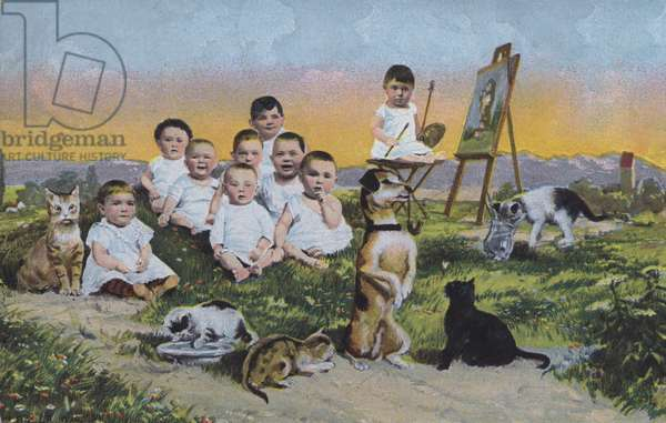 Young children, cats and dogs in the countryside (colour litho)