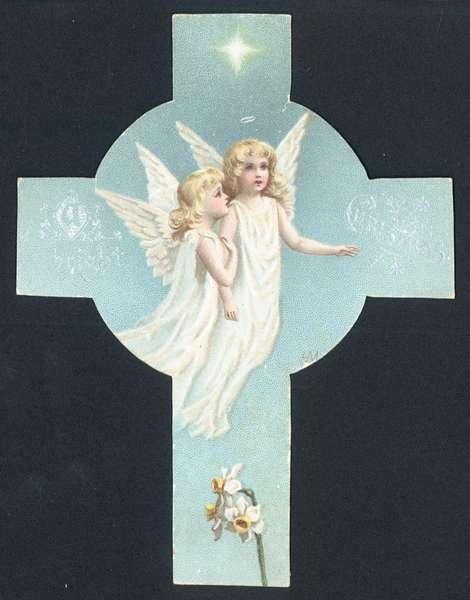 Two Angels, Christmas Card (chromolitho)