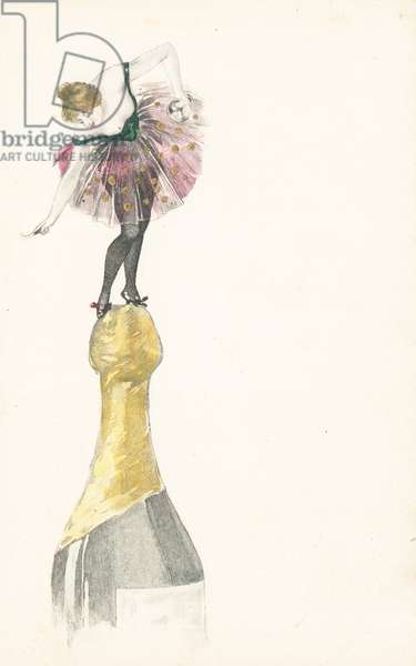 A woman standing on the top of a champagne bottle (colour litho)