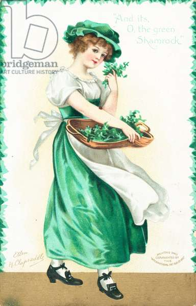 St Patrick's Day card (colour litho)
