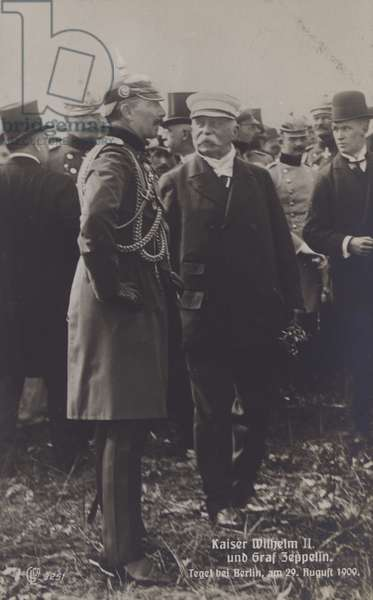 Kaiser Wilhelm II and German airship constructor Graf Ferdinand von Zeppelin at Tegel airfield, Berlin, 29 August 1909 (b/w photo)