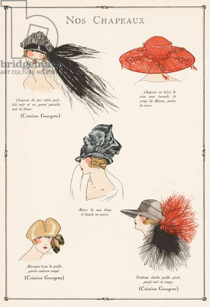 Hat designs by Madamme Georgette from the 1920s (colour litho)