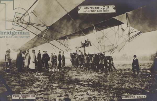 Flight of Zeppelin LZ III to Berlin, 1909 (b/w photo)