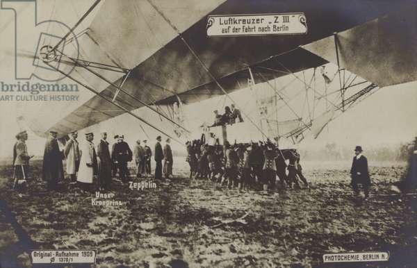 Flight of Zeppelin LZ III to Berlin, 1909 (b/w photo)