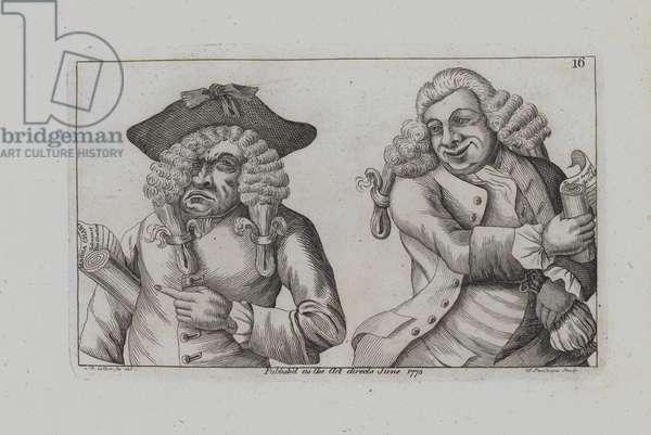 Two Wigged Men Burlesque the Magna Carta (engraving)
