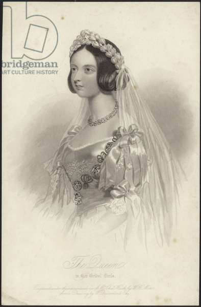Queen Victoria in her bridal dress (engraving)