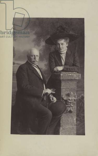 Graf Ferdinand von Zeppelin, German airship designer and constructor, and his wife Isabella (b/w photo)