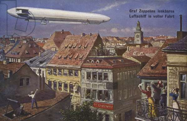 Zeppelin airship in flight (colour litho)