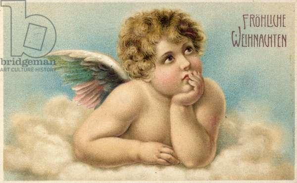 German Christmas card with Raphael's cherub (colour litho)
