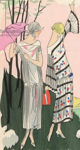 Women's fashions of the the 1920s by designers Martial et Armand and Jacques Doucet (colour litho)