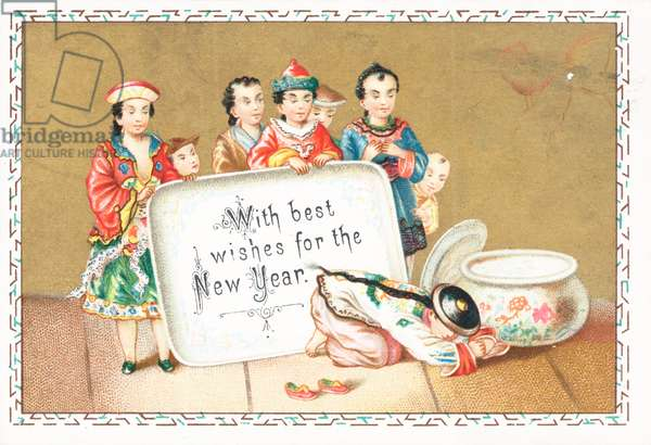Greetings from Chinese Children, New Year Card (chromolitho)