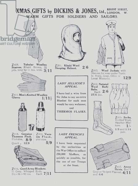Advertisement from Dickins and Jones department store to promote gifts for military personnel (litho)
