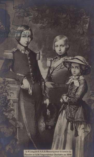 S M Leopold II, S A R Monseigneur Le Comte De Flandre, S M L'Imperatrice Charlotte, 1848 (litho)