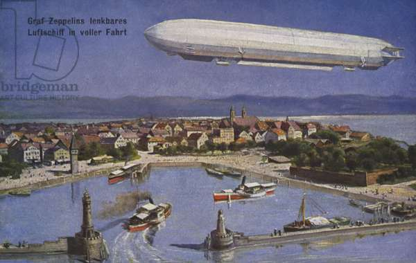 Graf Ferdinand von Zeppelin's airship in flight (colour litho)