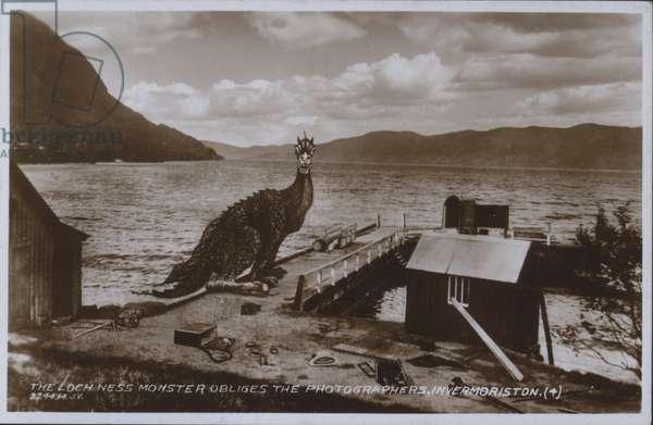 Loch Ness Monster at Invermoriston, Scotland (litho)