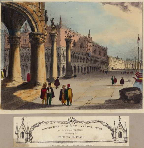 St Mark's Basilica in Venice (coloured engraving)