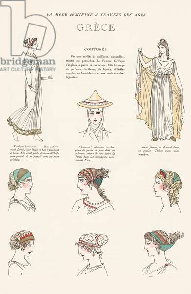 1920s depiction of women's hairstyles in Ancient Greece (colour litho)