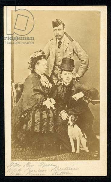 Queen Victoria, Princess Beatrice and Prince Arthur (b/w photo)