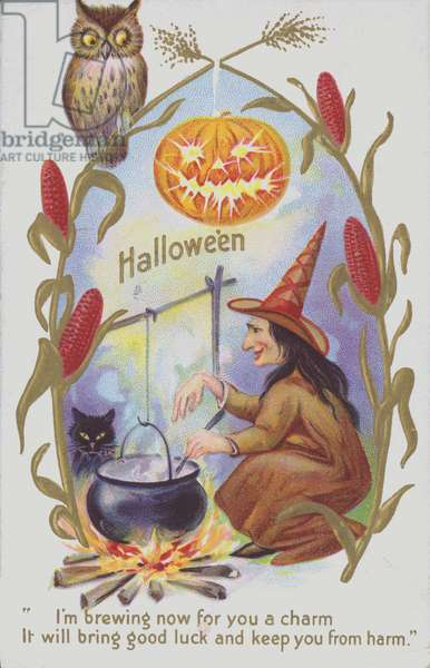 Witch brewing a potion, Halloween greetings card (chromolitho)