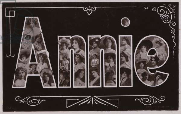 ANNIE, with surreal lettering (b/w photo)