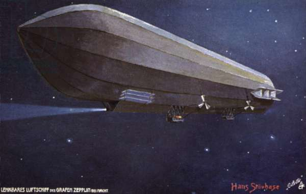 Zeppelin airship flying at night (colour litho)