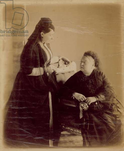 Queen Victoria, seated (b/w photo)