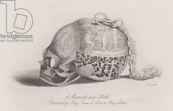 A memento mori watch presented by Mary, Queen of Scots to Mary Seaton (engraving)