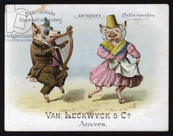 Dancing pigs wearing Welsh costume (chromolitho)