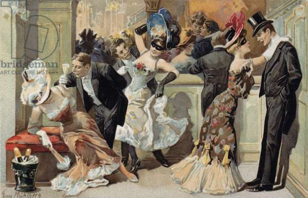 Masked ball, with men and women drinking Champagne (chromolitho)