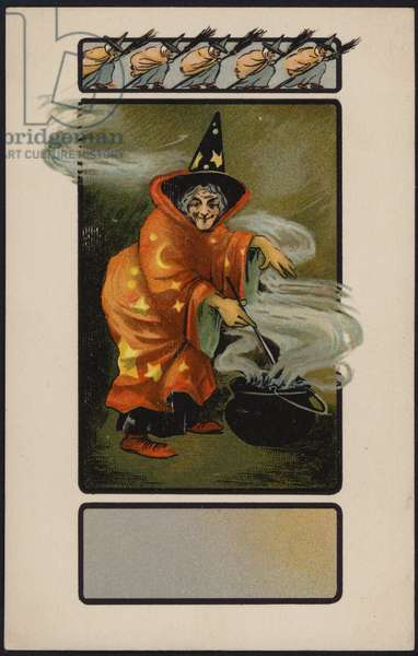 Halloween card, Witch and cauldron (colour litho)
