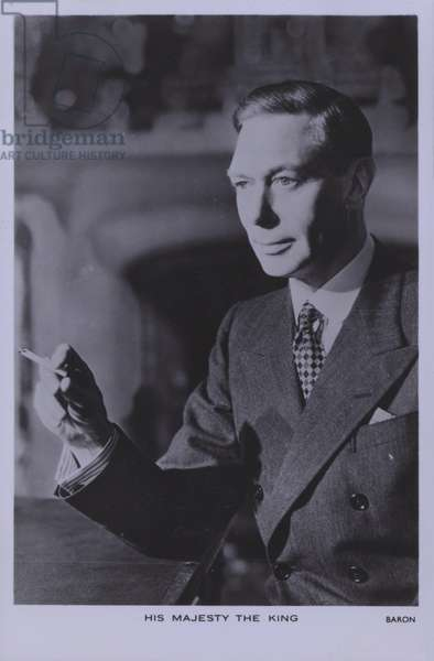 King George VI, smoking a cigarette (b/w photo)