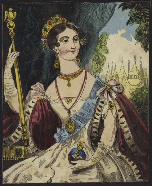 Queen Victoria holding an orb and sceptre (colour engraving)