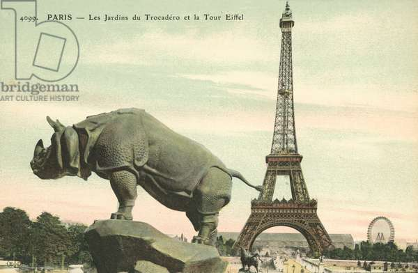 Trocadero Gardens and the Eiffel Tower in Paris, France (coloured photo)