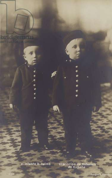 Children of King Alfonso XIII of Spain (b/w photo)