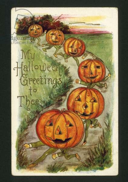 Halloween card (colour litho)
