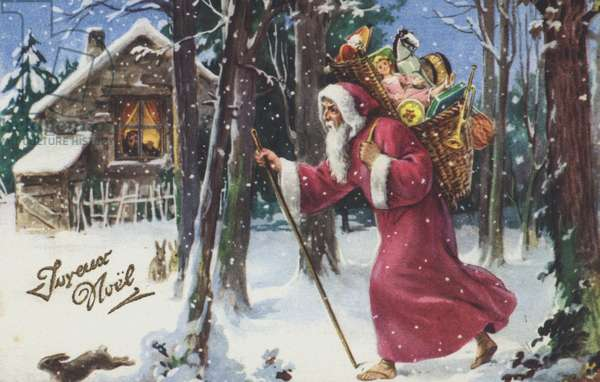 Christmas greetings card depicting Santa Claus carrying a basket of gifts through a snowy forest. (colour litho)