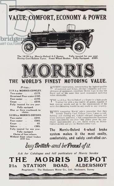 Advertisement for Morris cars, 1925 (litho)
