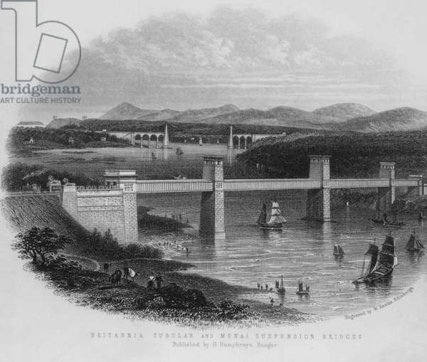 Britannia Tubular and Menai Suspension Bridges (engraving)