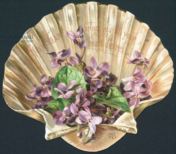 Violets in Clam Shell, New Year Card (chromolitho)