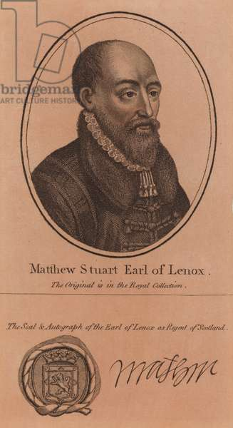 Matthew Stewart, 4th Earl of Lennox, Regent of Scotland during the minority of James VI (engraving)