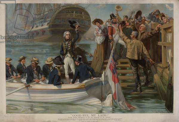 Nelson leaving Portsmouth to sail for Trafalgar on the Victory (chromolitho)