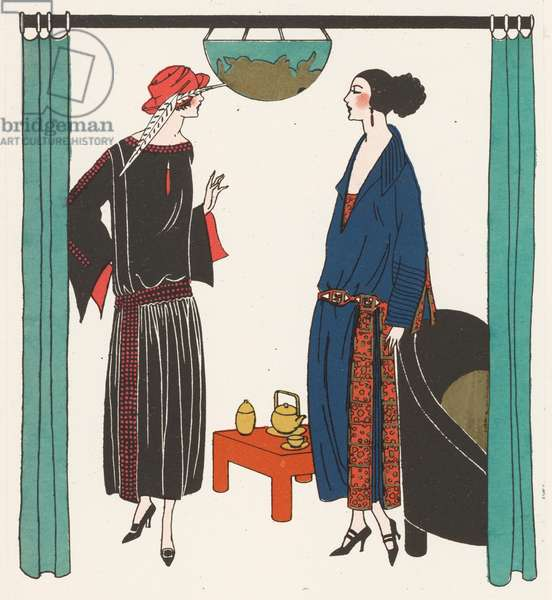 Fashion of the 1920s by designers Premet and the House of Worth (colour litho)