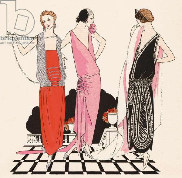 Women's evening wear in the 1920s by designer Edward Molyneux (colour litho)