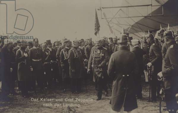 Kaiser Wilhelm II and German airship constructor Graf Ferdinand von Zeppelin after the landing of one of Zeppelin's airships (b/w photo)