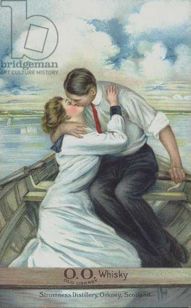 Couple kissing in a rowing boat - used to market Old Orkney Whisky (chromolitho)