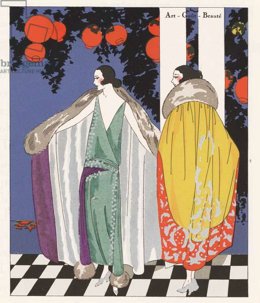 Women's fashion of the 1920s depcting coats designed by Jean Patou (colour litho)