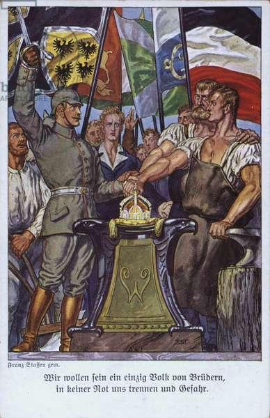 Unity of the German peoples, propaganda postcard (colour litho)