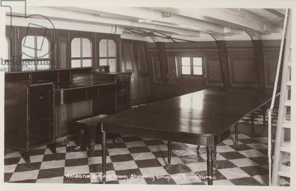 Nelson's dining room on board HMS Victory, showing original furniture (b/w photo)