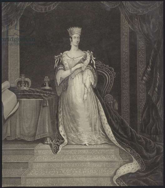 Queen Victoria seated alongside the crown jewels (litho)